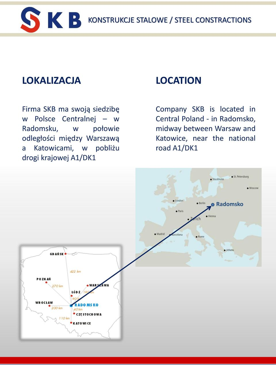 drogi krajowej A1/DK1 Company SKB is located in Central Poland - in
