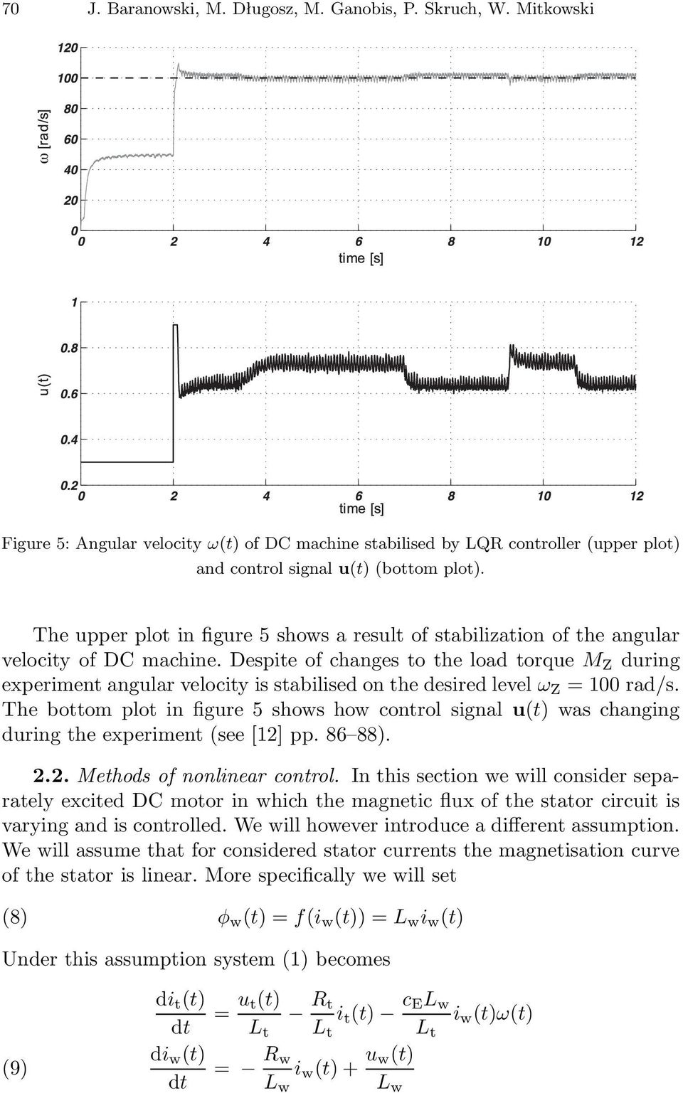 Despite of changes to the load torque M Z during experiment angular velocity is stabilised on the desired level ω Z = 100 rad/s.