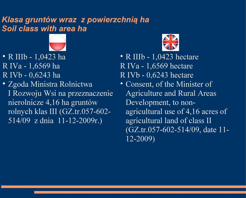 ) R IIIb - 1,0423 hectare R IVa - 1,6569 hectare R IVb - 0,6243 hectare Consent, of the Minister of Agriculture and Rural