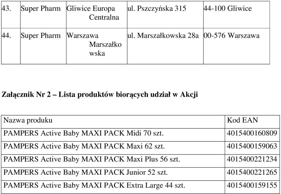 MAXI PACK Midi 70 szt. 4015400160809 PAMPERS Active Baby MAXI PACK Maxi 62 szt.