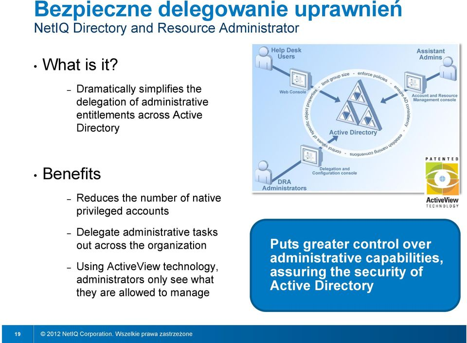 number of native privileged accounts Delegate administrative tasks out across the organization Using ActiveView