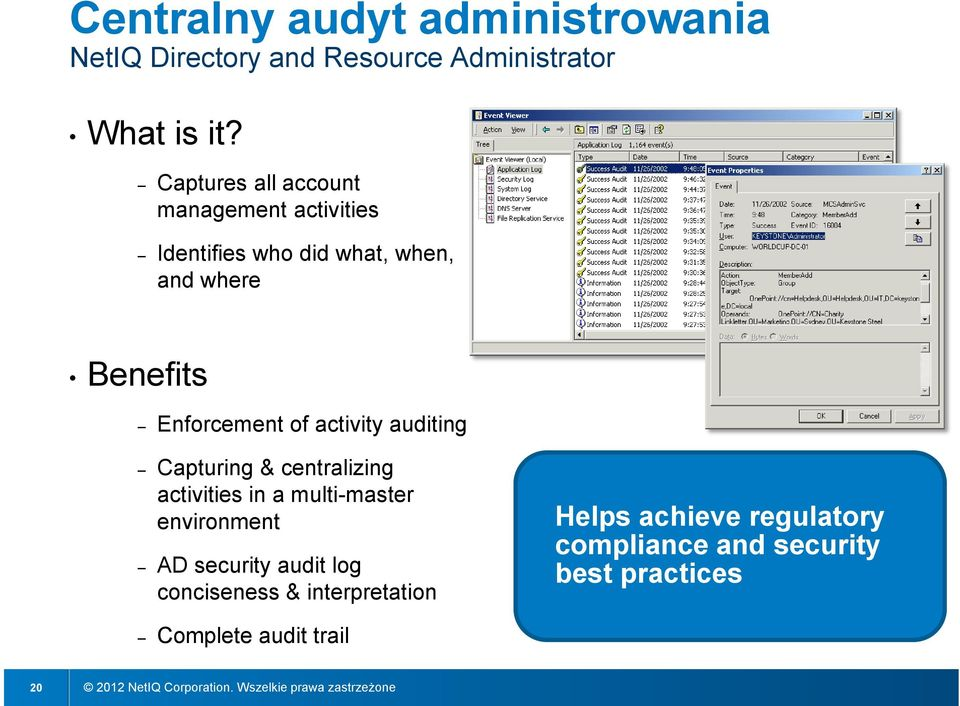 of activity auditing Capturing & centralizing activities in a multi-master environment AD security audit