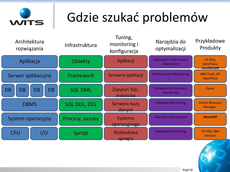 OpenView DB DB DB DB SQL DML Zapytań SQL, indeksów Database Performance Monitoring Quest DBMS SQL DDL, DCL Serwera bazy danych Database Monitoring Oracle Resource