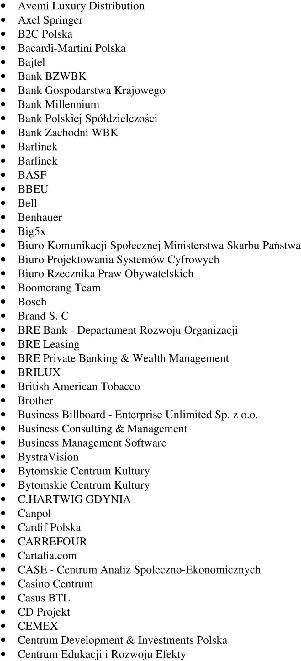 C BRE Bank - Departament Rozwoju Organizacji BRE Leasing BRE Private Banking & Wealth Management BRILUX British American Tobacco Brother Business Billboard - Enterprise Unlimited Sp. z o.o. Business Consulting & Management Business Management Software BystraVision Bytomskie Centrum Kultury Bytomskie Centrum Kultury C.