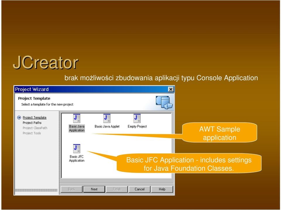 Sample application Basic JFC Application