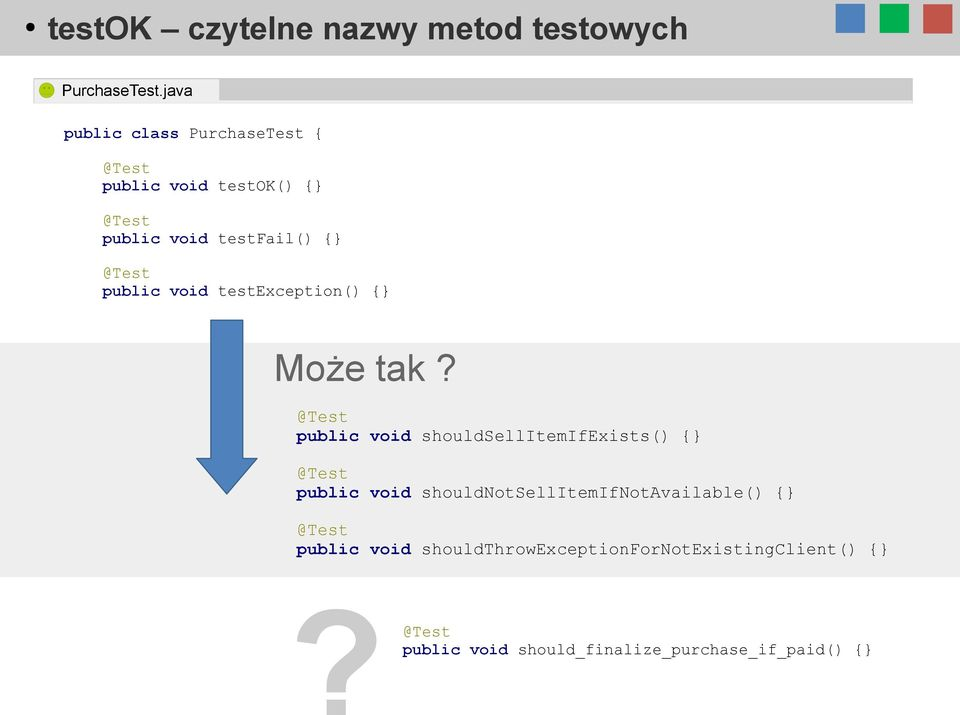 void testexception() { Może tak?