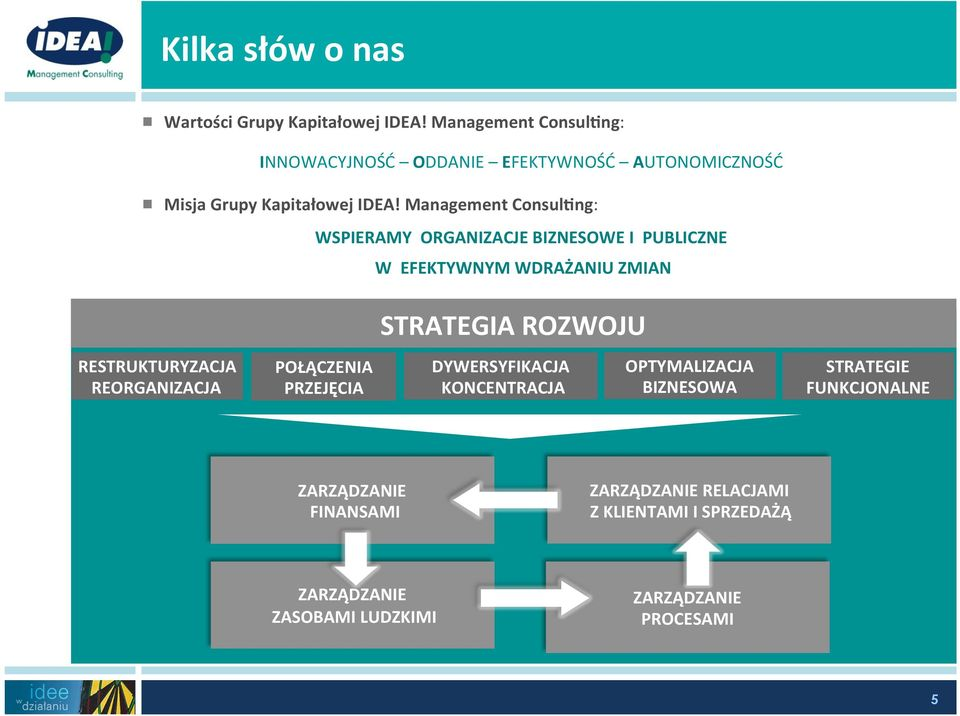 Management Consul<ng: WSPIERAMY ORGANIZACJE BIZNESOWE I PUBLICZNE W EFEKTYWNYM WDRAŻANIU ZMIAN STRATEGIA ROZWOJU