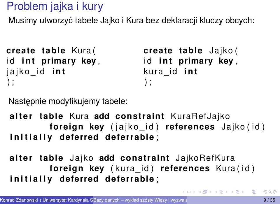 constraint KuraRefJajko foreign key ( j a j k o _ i d ) references Jajko ( i d ) i n i t i a l l y deferred deferrable ; a l t e r table
