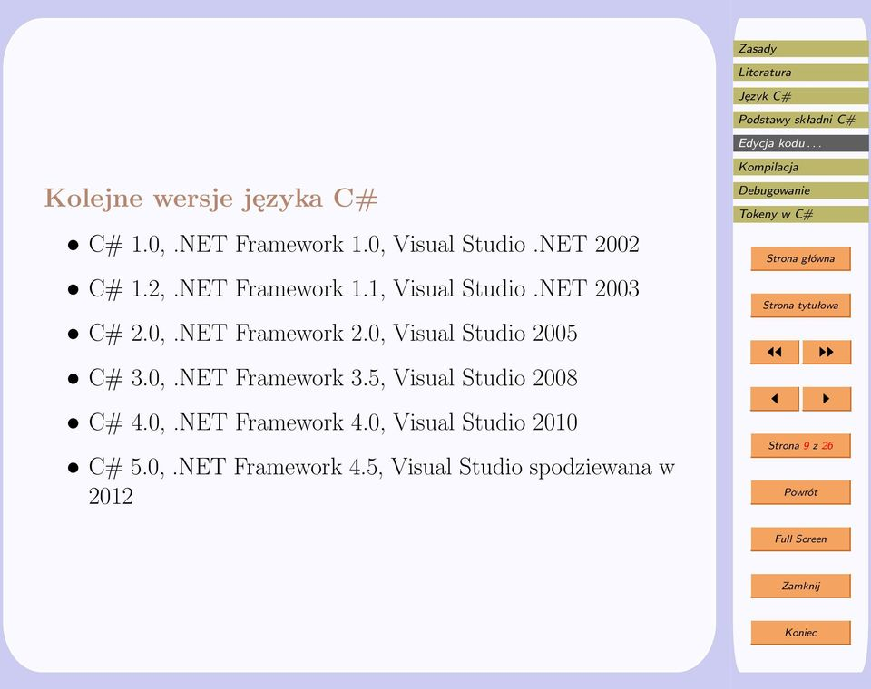 0, Visual Studio 2005 C# 3.0,.NET Framework 3.5, Visual Studio 2008 C# 4.0,.NET Framework 4.