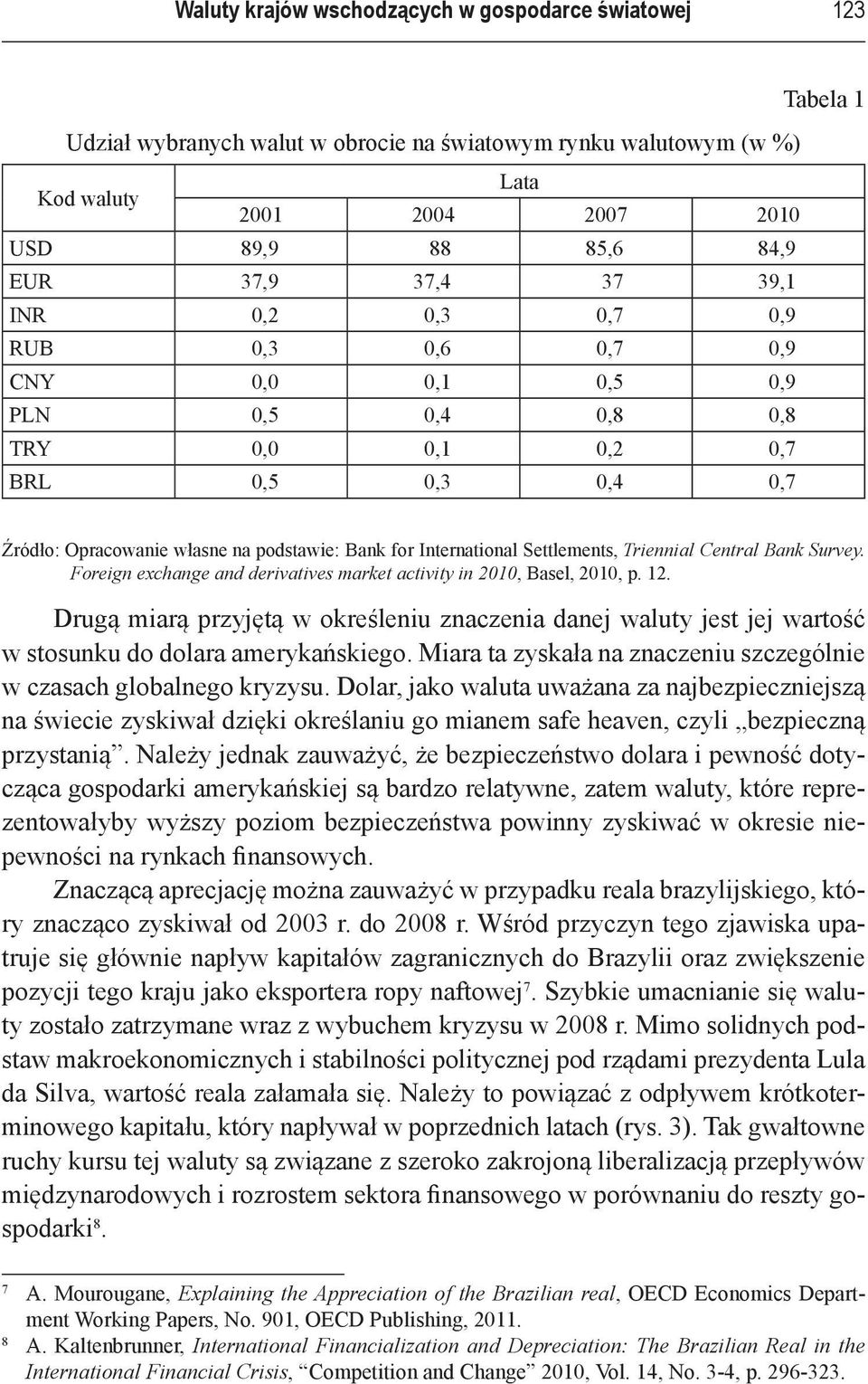 Settlements, Triennial Central Bank Survey. Foreign exchange and derivatives market activity in 2010, Basel, 2010, p. 12.