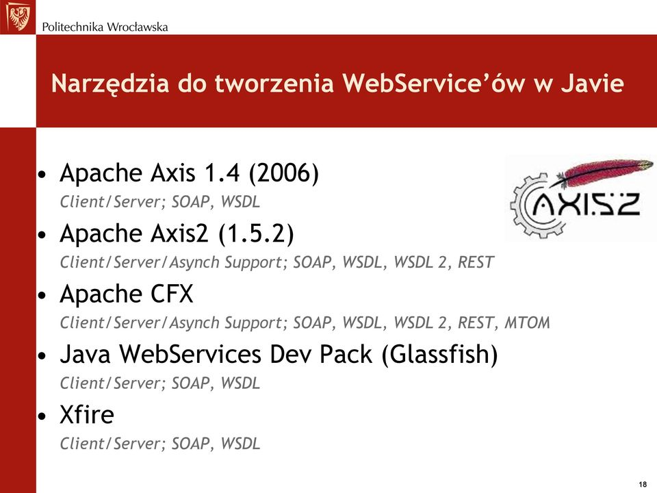 2) Client/Server/Asynch Support; SOAP, WSDL, WSDL 2, REST Apache CFX