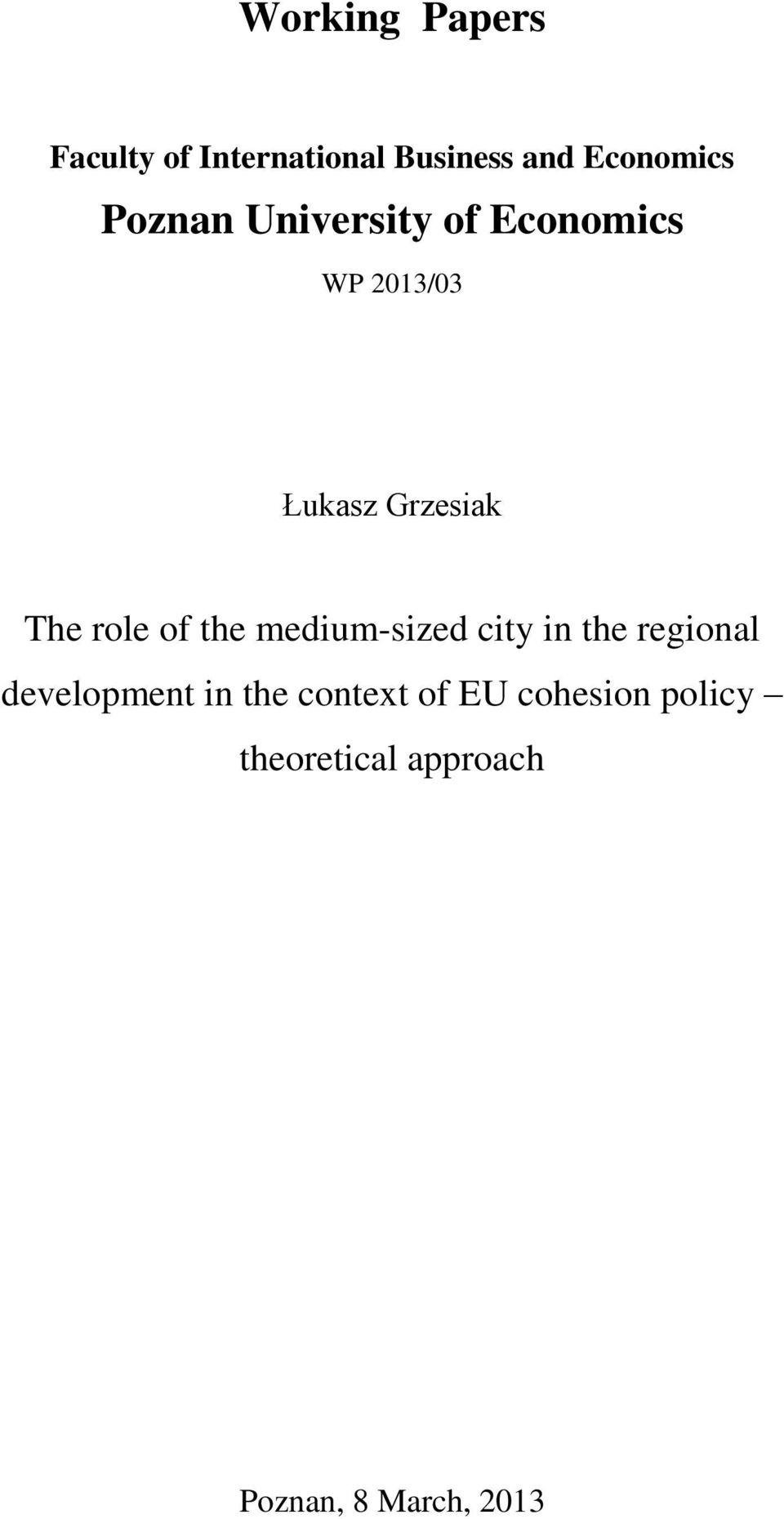 role of the medium-sized city in the regional development in the