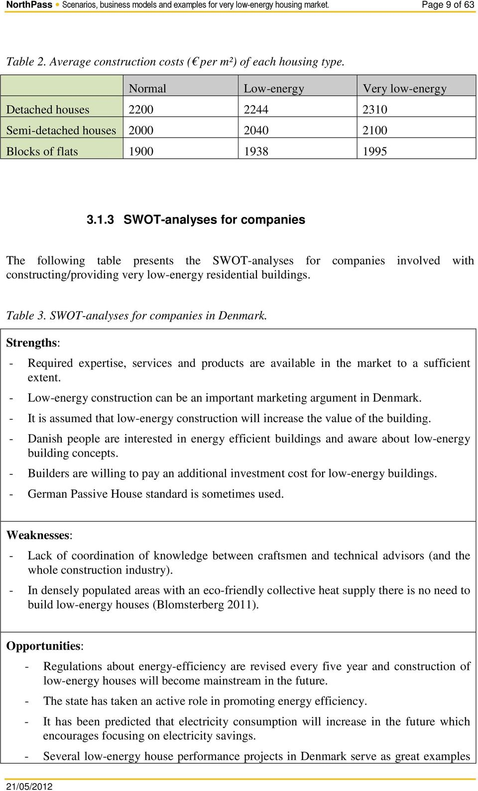 Semi-detached houses 2000 2040 2100 Blocks of flats 1900 1938 1995 3.1.3 SWOT-analyses for companies The following table presents the SWOT-analyses for companies involved with constructing/providing very low-energy residential buildings.