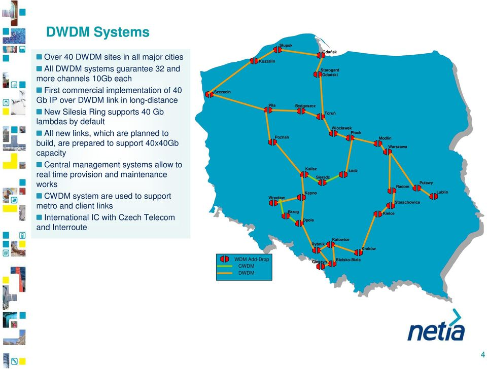 management systems allow to real time provision and maintenance works CWDM system are used to support metro and client links International IC with Czech Telecom and
