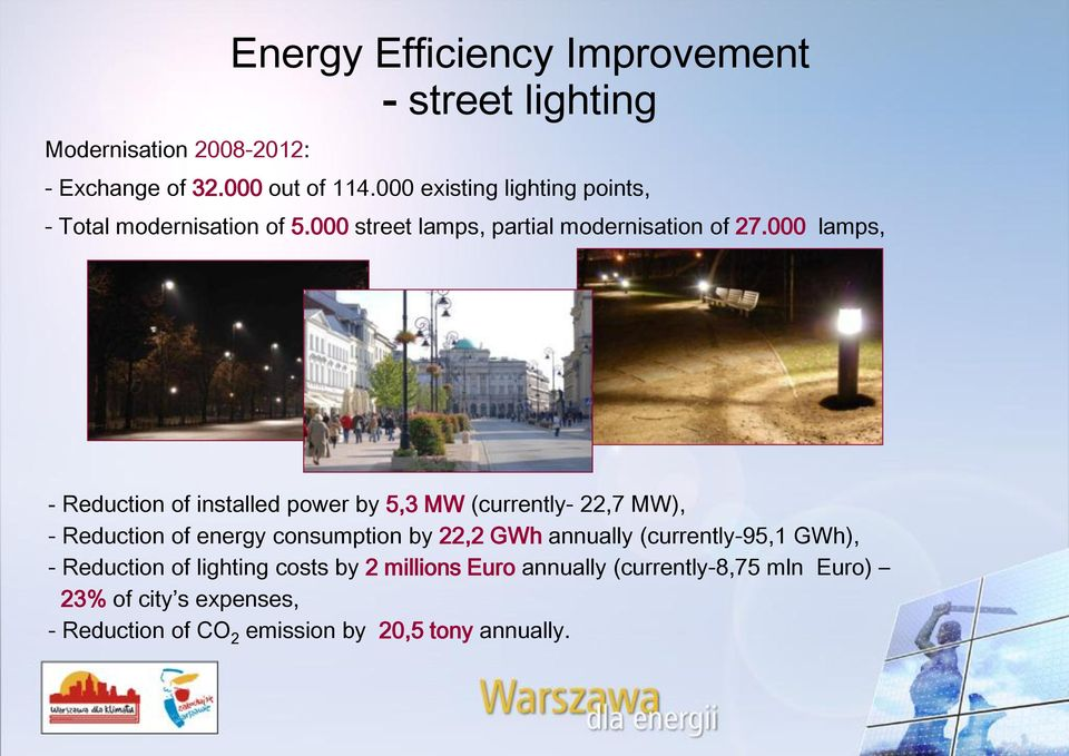 000 lamps, - Reduction of installed power by 5,3 MW (currently- 22,7 MW), - Reduction of energy consumption by 22,2 GWh annually