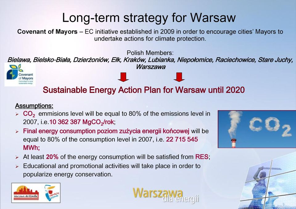 2020 CO 2 emmisions level will be equal to 80% of the emissions level in 2007, i.e.10 362 387 MgCO 2 /rok; Final energy consumption poziom zużycia energii końcowej will be equal to 80% of the consumption level in 2007, i.