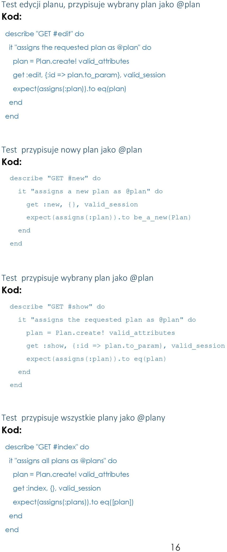 "to eq(plan) Test przypisuje nowy plan jako @plan describe ""GET #new"" do it ""assigns a new plan as @plan"" do get :new, {}, valid_session expect(assigns(:plan))."