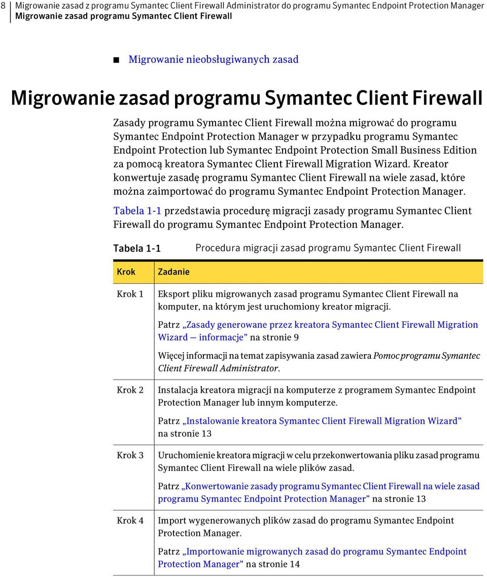 Endpoint Protection lub Symantec Endpoint Protection Small Business Edition za pomocą kreatora Symantec Client Firewall Migration Wizard.