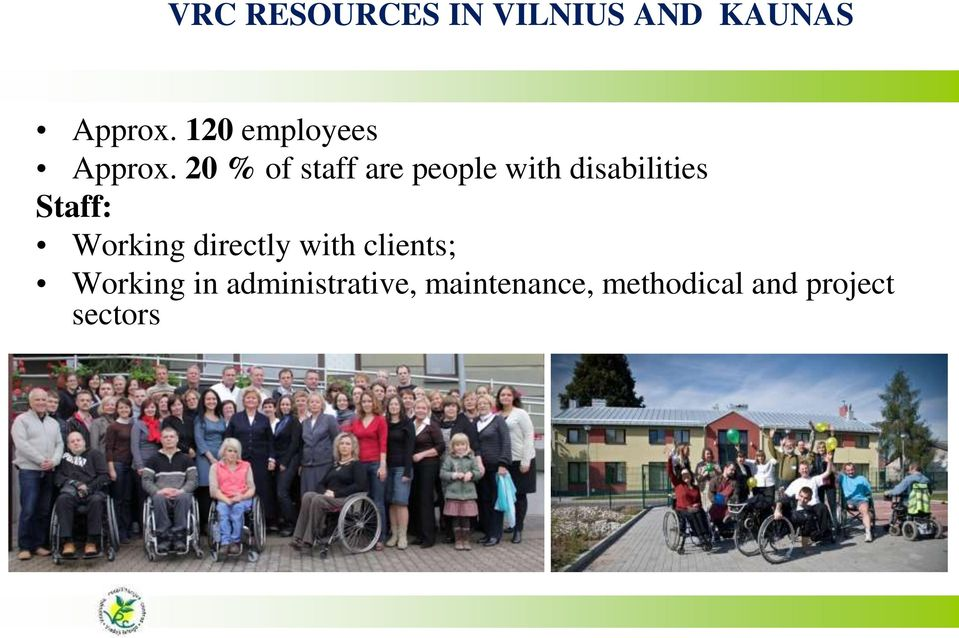 20 % of staff are people with disabilities Staff: