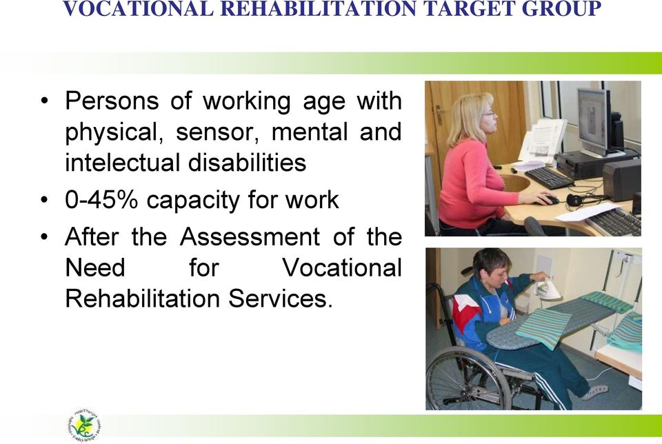 intelectual disabilities 0-45% capacity for work After