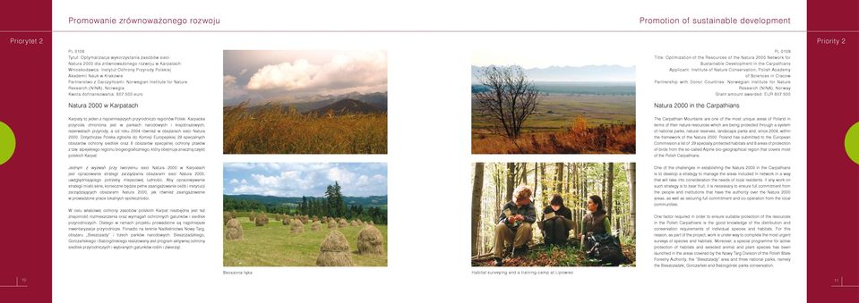 euro Natura 2000 w Karpatach PL 0108 Title: Optimization of the Resources of the Natura 2000 Network for Sustainable Development in the Carpathians Applicant: Institute of Nature Conservation, Polish