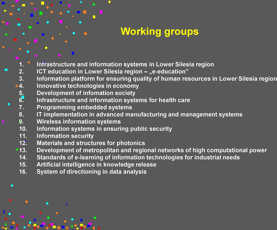 Infrastructure and information systems for health care 7. Programming embedded systems 8. IT implementation in advanced manufacturing and management systems 9. Wireless information systems 10.