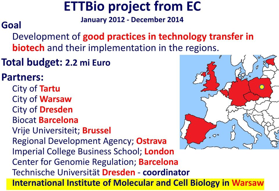 2 mi Euro Partners: City of Tartu City of Warsaw City of Dresden Biocat Barcelona Vrije Universiteit; Brussel Regional