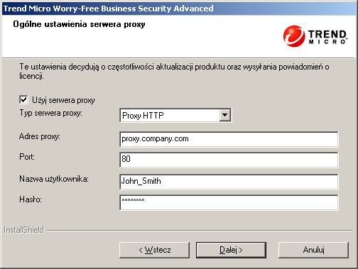 Trend Micro Worry-Free Business Security Advanced 6.0 Podręcznik instalacji 10. Kliknij przycisk Dalej. Zostanie wyświetlony ekran Serwer proxy. RYSUNEK 3-12.
