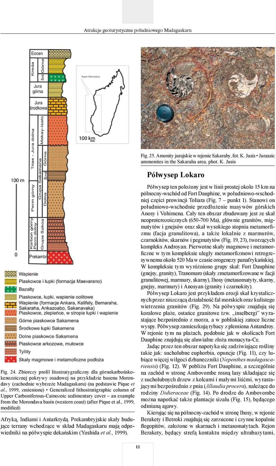 , 1999, zmienione) Generalized lithostratigraphic column of Upper Carboniferous-Cainozoic sedimentary cover an example from the Morondava basin (western coast) (after Pique et al.