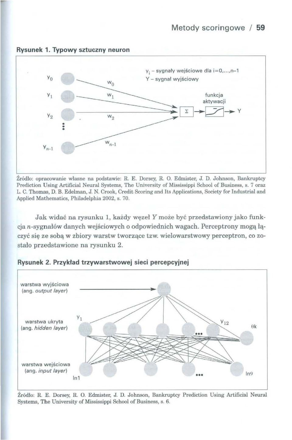 """)' Prediction Using Artificial Neural Systems, The University of Mississippi School of Business, s. 7 oraz L. C. Thomas. D. B. Edelman, J. N. Crook, Credit Scoring and Its Applications, Society for Industrial and Applied Mathematics, Philadelphia 2002, s."