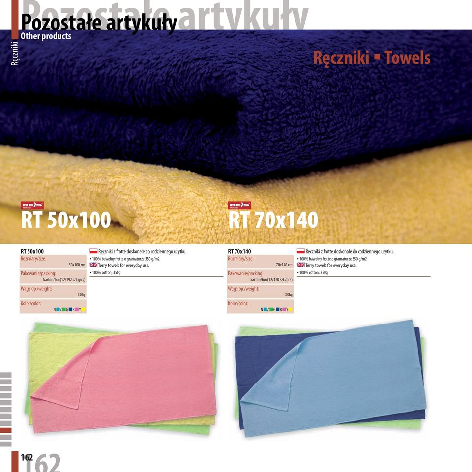 100% bawełny frotte o gramaturze 350 g/m2 Terry towels for everyday use.