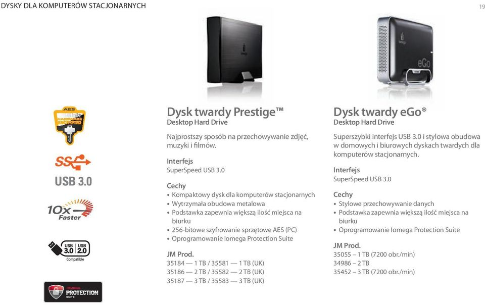 Protection Suite 35184 1 TB / 35581 1 TB (UK) 35186 2 TB / 35582 2 TB (UK) 35187 3 TB / 35583 3 TB (UK) Dysk twardy ego Desktop Hard Drive Superszybki interfejs USB 3.