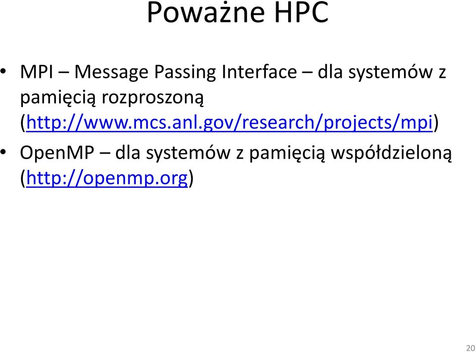 anl.gov/research/projects/mpi) OpenMP dla