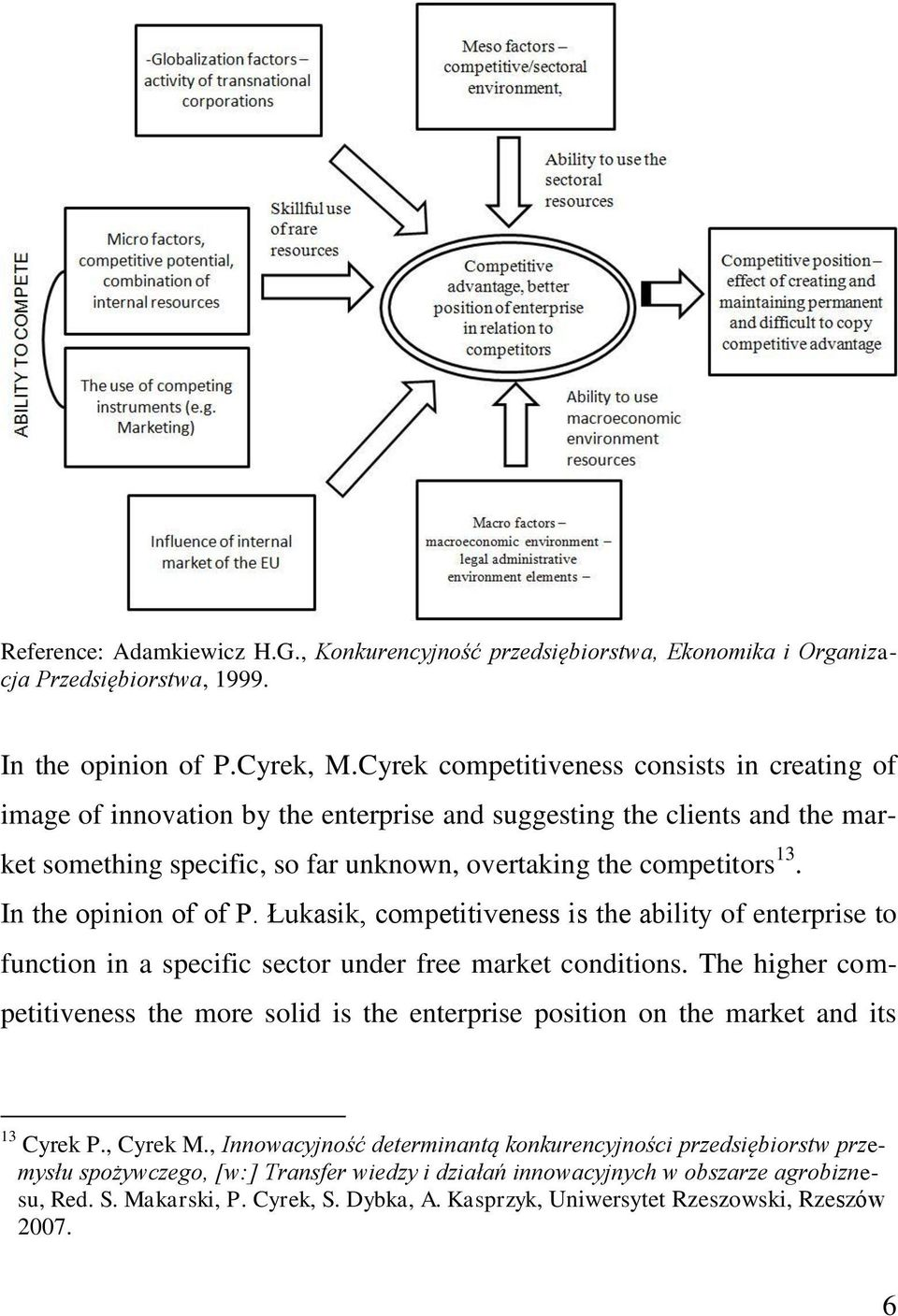In the opinion of of P. Łukasik, competitiveness is the ability of enterprise to function in a specific sector under free market conditions.