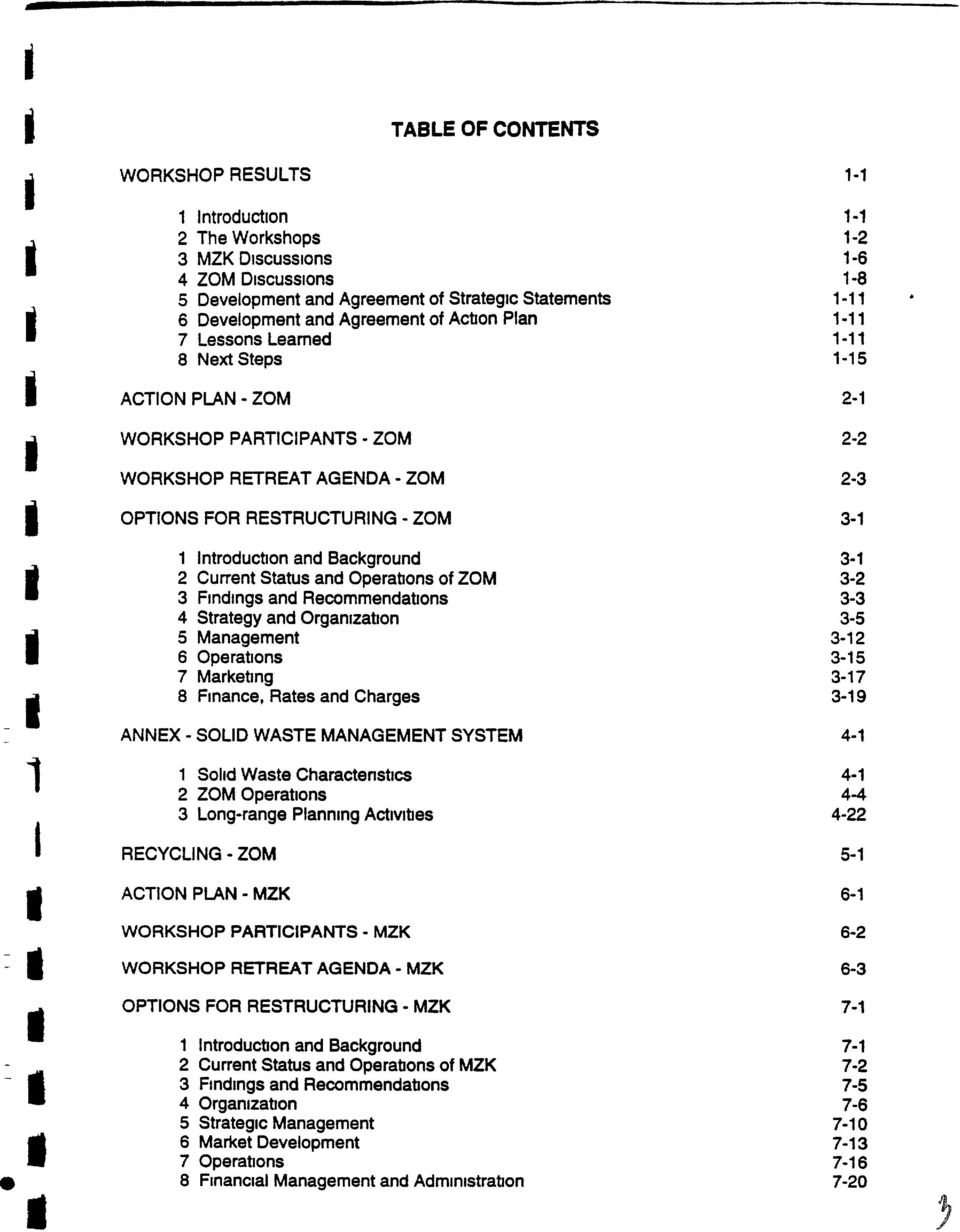 RESTRUCTURING - ZOM 3-1 I - 4 Strategy and Organization 3-5 - 8 1 Introduction and Background 3-1 2 Current Status and Operations of ZOM 3-2 3 Findings and Recommendations 3-3 5 Management 3-12 6