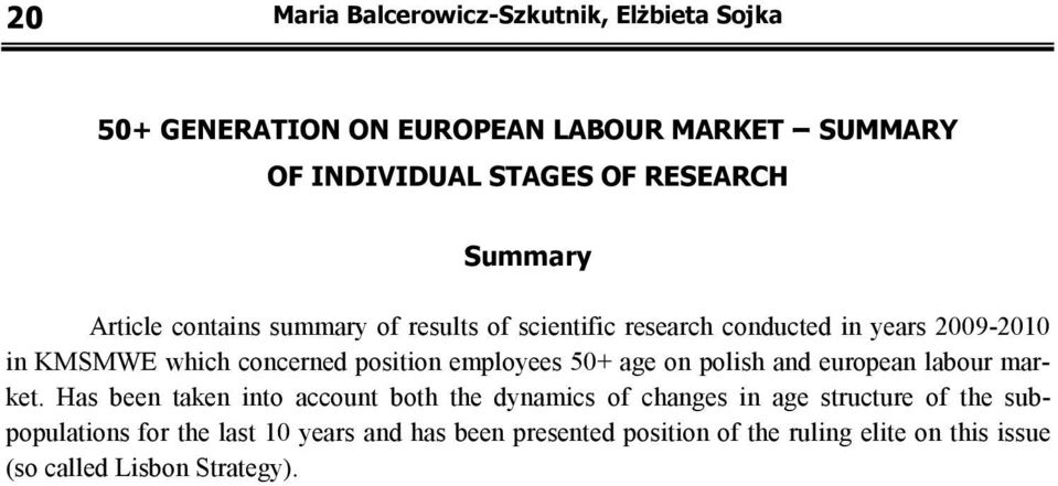 employees 50+ age on polish and european labour market.