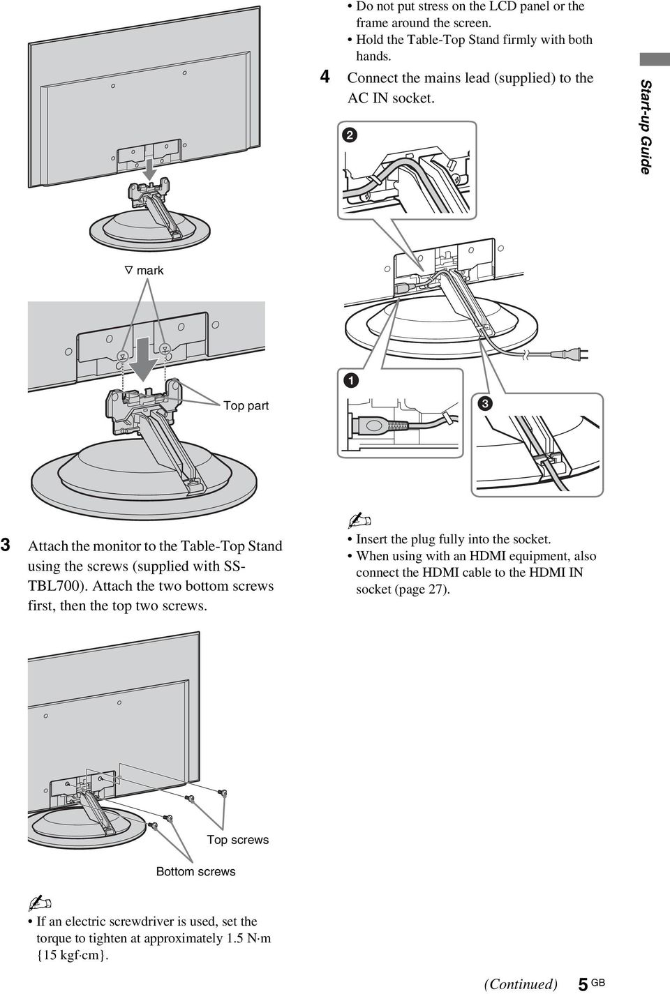 Start-up Guide F mark Top part 3 Attach the monitor to the Table-Top Stand using the screws (supplied with SS- TBL700).