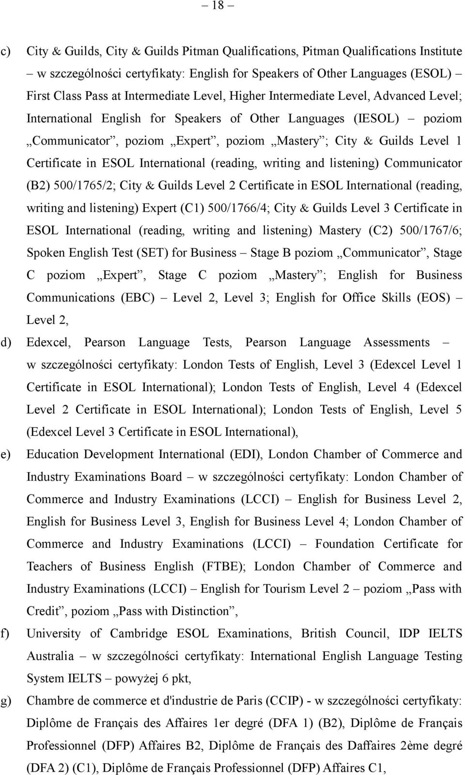 ESOL International (reading, writing and listening) Communicator (B2) 500/1765/2; City Guilds Level 2 Certificate in ESOL International (reading, writing and listening) Expert (C1) 500/1766/4; City