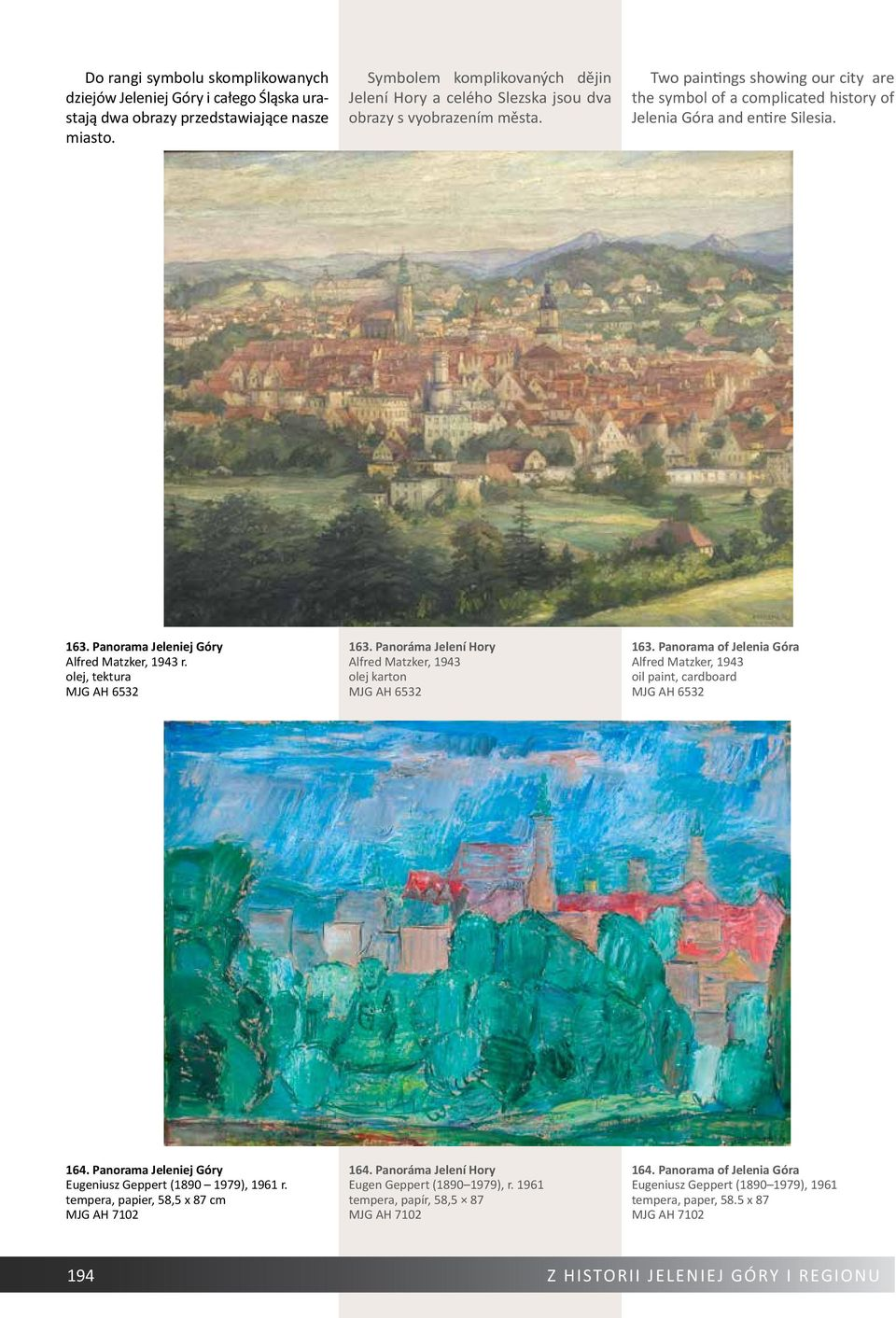Two paintings showing our city are the symbol of a complicated history of Jelenia Góra and entire Silesia. 163. Panorama Jeleniej Góry Alfred Matzker, 1943 r. olej, tektura MJG AH 6532 163.