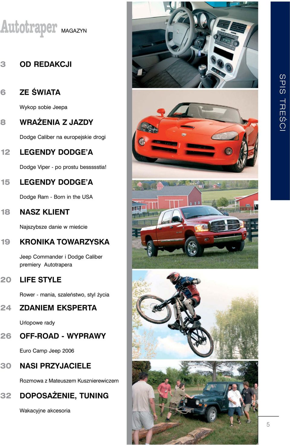 15 LEGENDY DODGE A Dodge Ram - Born in the USA 18 NASZ KLIENT Najszybsze danie w mieêcie 19 KRONIKA TOWARZYSKA Jeep Commander i Dodge
