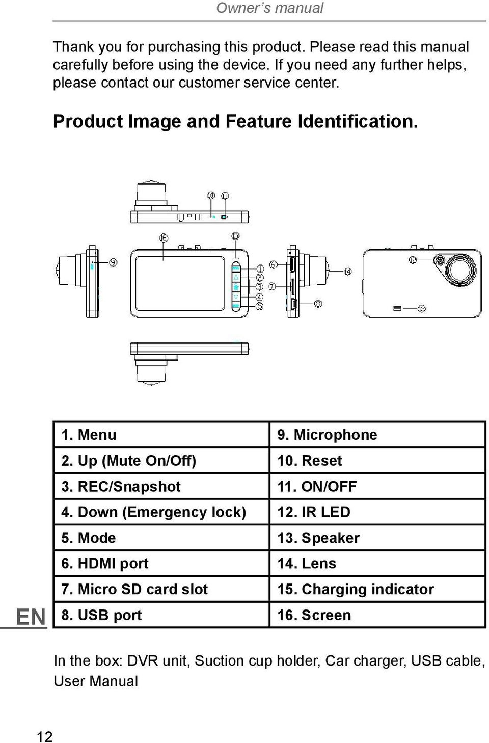 Microphone 2. Up (Mute On/Off) 10. Reset 3. REC/Snapshot 11. ON/OFF 4. Down (Emergency lock) 12. IR LED 5. Mode 13. Speaker 6.