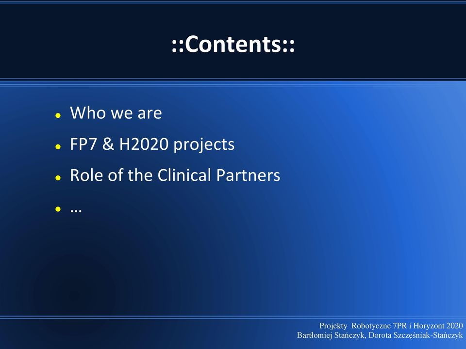 projects Role of
