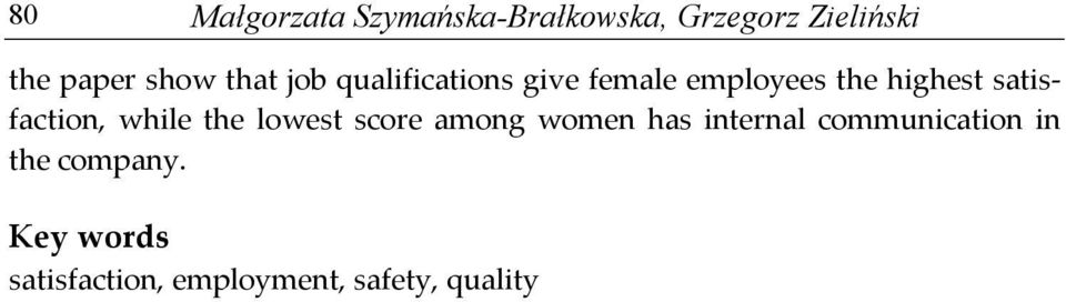 satisfaction, while the lowest score among women has internal