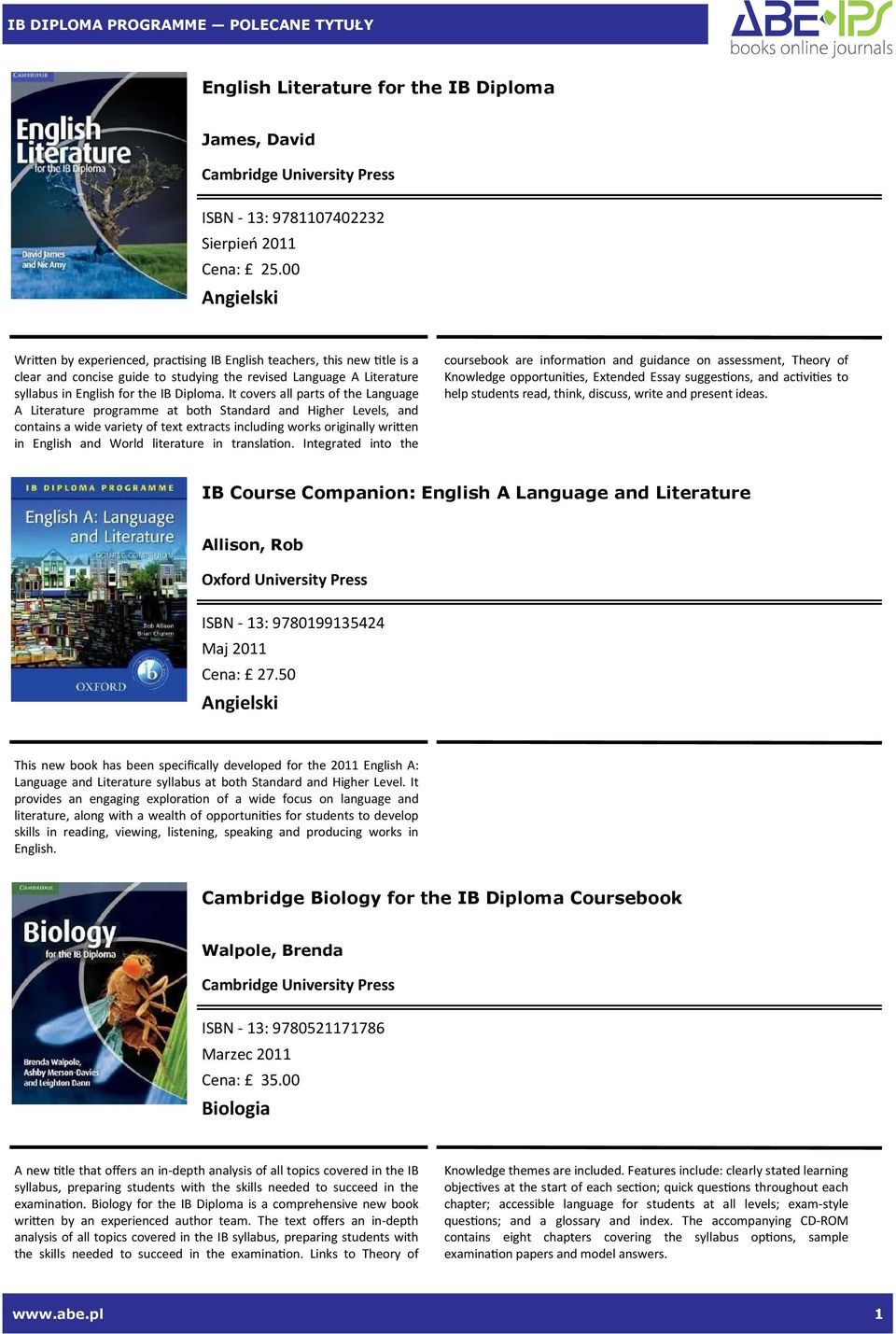 It covers all parts of the Language A Literature programme at both Standard and Higher Levels, and contains a wide variety of text extracts including works originally wrien in English and World