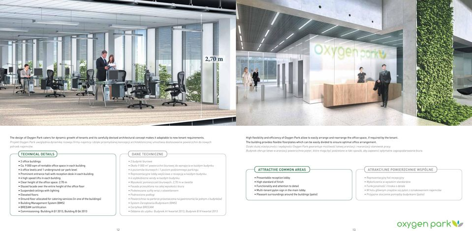 TECHNICAL DETAILS DANE TECHNICZNE High flexibility and efficiency of Oxygen Park allow to easily arrange and rearrange the office space, if required by the tenant.