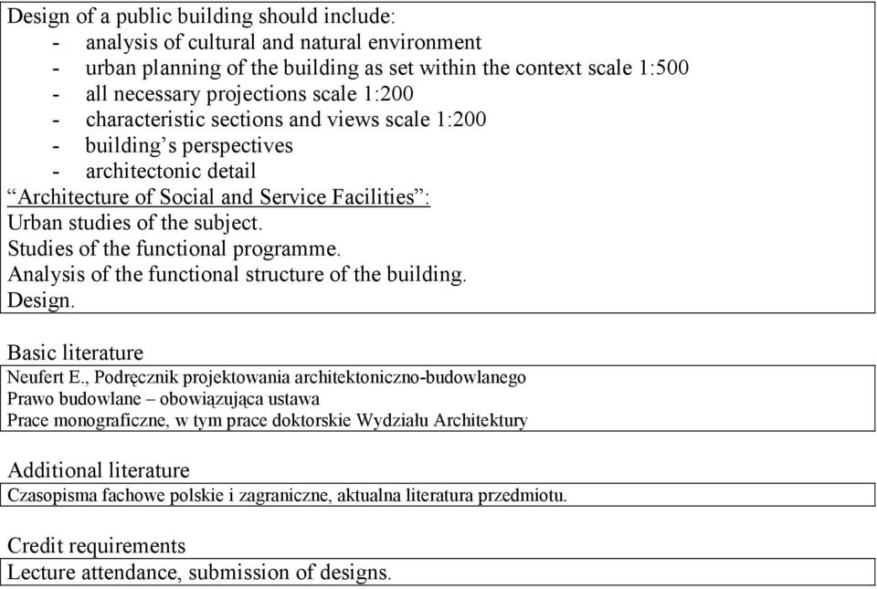 Studies of the functional programme. Analysis of the functional structure of the building. Design. Basic literature Neufert E.