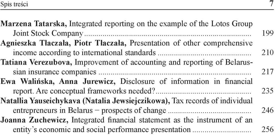 .. 210 Tatiana Verezubova, Improvement of accounting and reporting of Belarussian insurance companies.