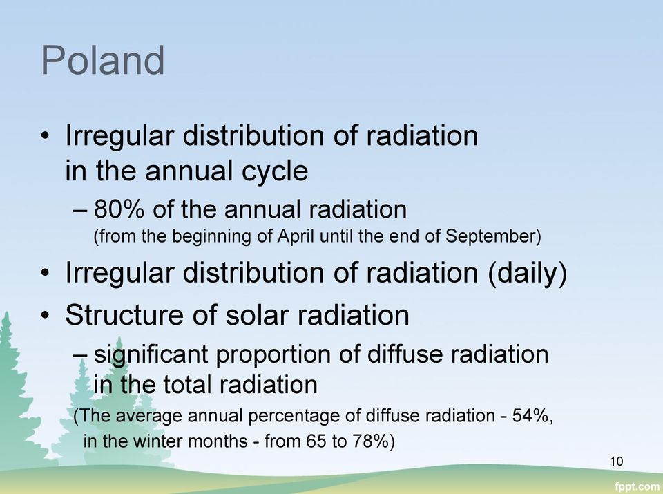 Structure of solar radiation significant proportion of diffuse radiation in the total radiation