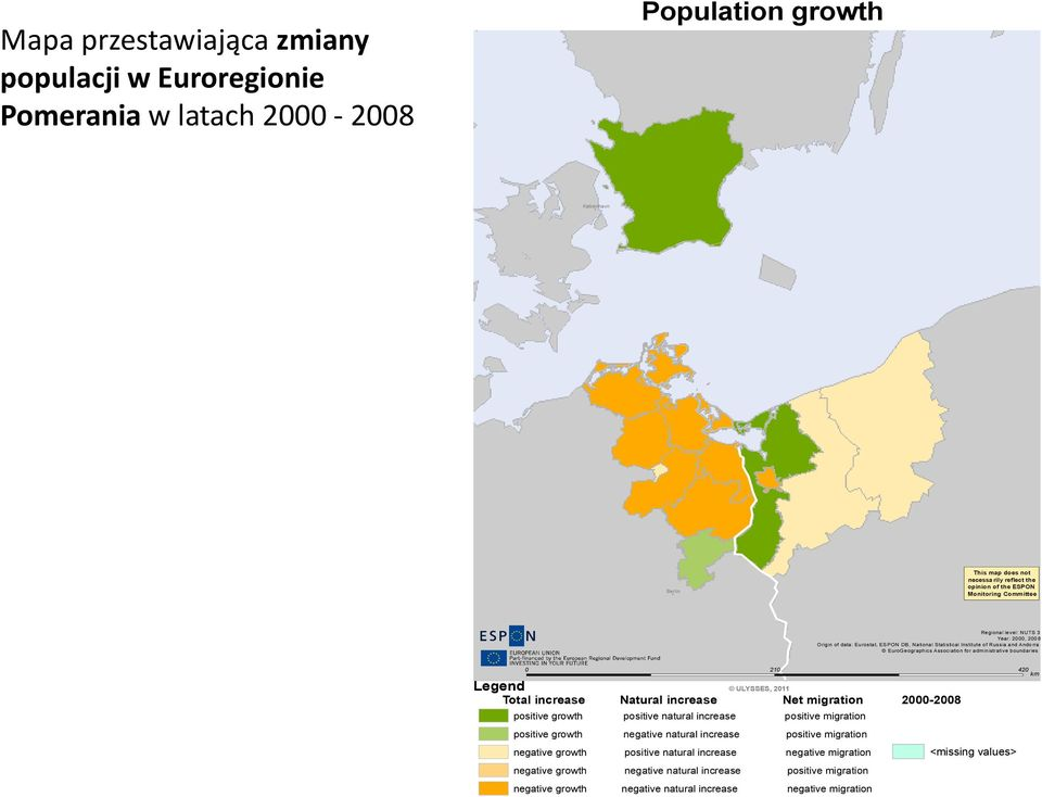of Russia and Andorra EuroGeographics Association for administrative boundaries 0 210 420 Legend ULYSSES, 2011 Total increase Natural increase Net migration 2000-2008 positive growth positive natural