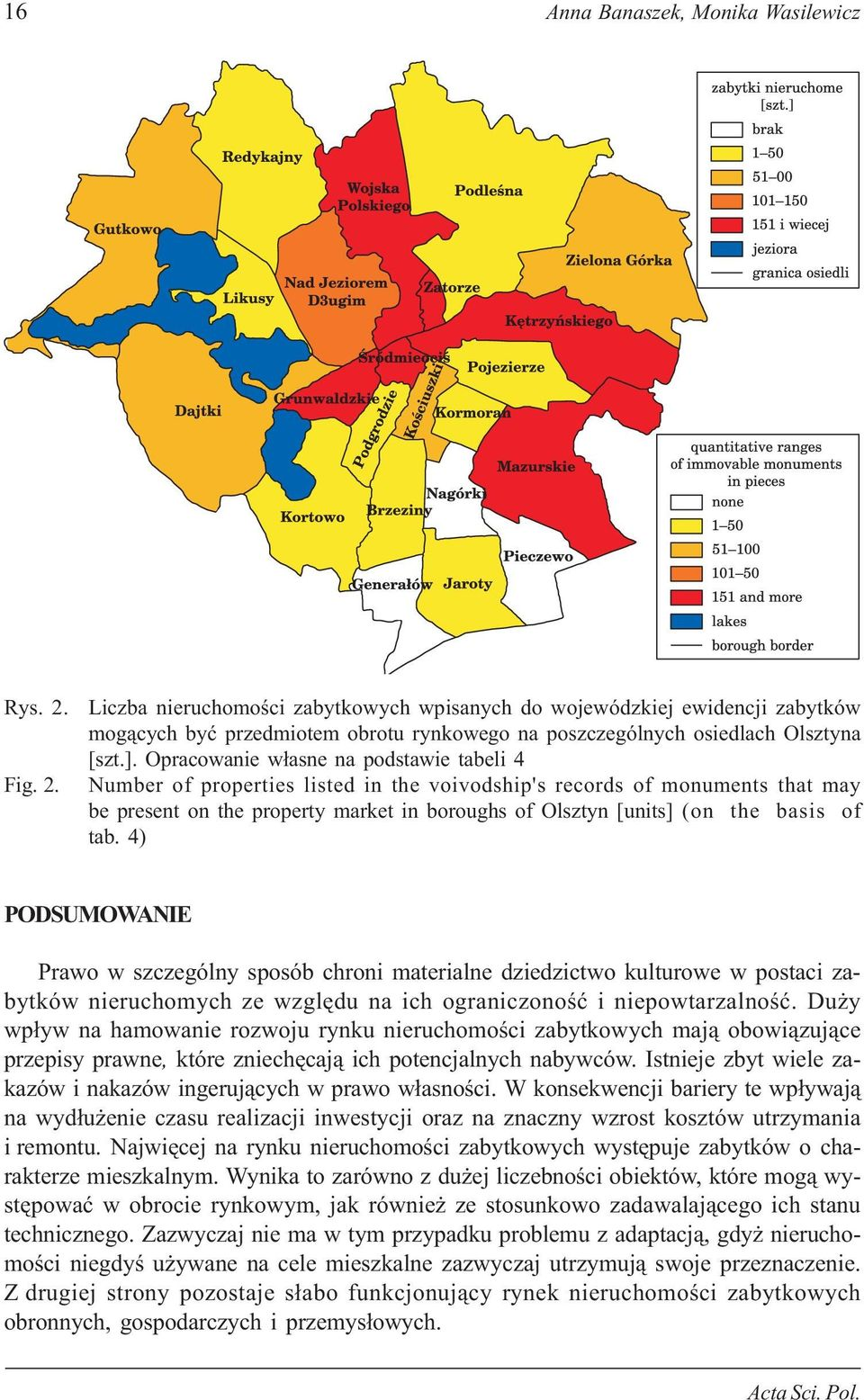 Opracowanie w³asne na podstawie tabeli 4 Number of properties listed in the voivodship's records of monuments that may be present on the property market in boroughs of Olsztyn [units] (on the basis